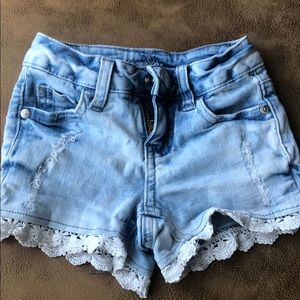 Jean and lace shorts